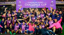 Stade Francais players celebrate after the final whistle during the European Challenge Cup Final at BT Murrayfield, Edinburgh. PRESS ASSOCIATION Photo. Picture date: Friday May 12, 2017. See PA story RUGBYU Final. Photo credit should read: Mike Egerton/PA Wire