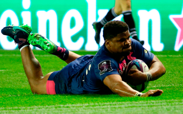 Stade Francais' Jonathan Danty scores his side's second try. Photo: Jane Barlow/PA