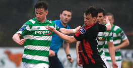 Ronan Finn of Shamrock Rovers in action against Ian Morris of Bohemians. Photo: David Maher/Sportsfile