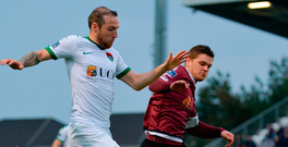 Karl Sheppard of Cork City in action against Galway United's Colm Horgan at Eamonn Deasy Park in Galway. Photo: Sam Barnes/Sportsfile
