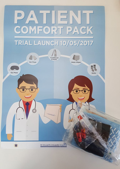 Socks and ear plugs: pack to enhance patient comfort