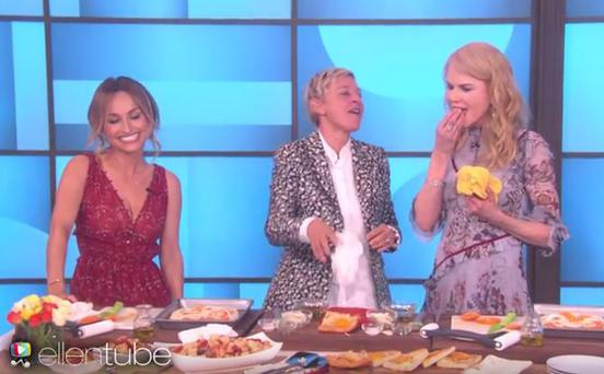 Nicole Kidman removes the chef's food from her mouth on The Ellen Show
