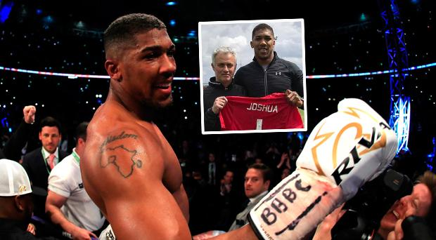 Anthony Joshua popped in to meet Jose Mourinho and the Manchester United players