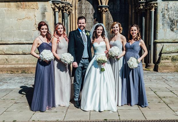 B*Witched star Keavy Lynch and bridesmaids: sisters Edele, Naomi, friend Niamh and fellow band mate Lindsay. Photos by Matthew Lawrence Photography