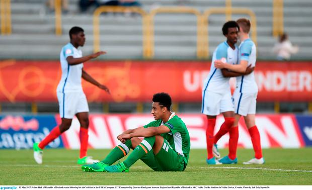 13 May 2017; Adam Idah of Republic of Ireland reacts following his side's defeat in the UEFA European U17 Championship Quarter-Final game between England and Republic of Ireland at SRC Velika Gorika Stadium in Velika Gorica, Croatia. Photo by Seb Daly/Sportsfile