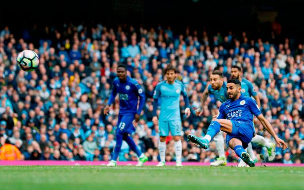 Leicester City's Riyad Mahrez scores from the penalty spot but is later disallowed