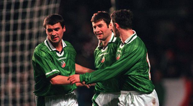 Roy Keane and Denis Irwin during their playing days with Ireland
