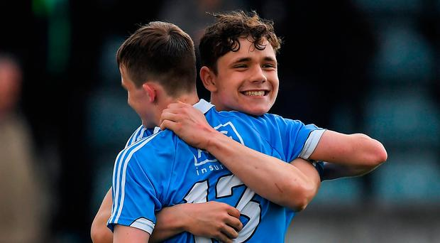 Diarmaid Ó Floinn, right, and Liam Murphy of Dublin celebrate after the Electric Ireland Leinster GAA Hurling Minor Championship Semi-Final game between Dublin and Wexford at Parnell Park in Dublin. Photo by Brendan Moran/Sportsfile