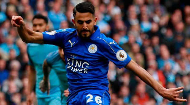 Leicester City's Riyad Mahrez loses his footing at the vital moment, and while his penalty ends up in the net it is ruled out for deflecting in off his standing leg. Photo: Reuters