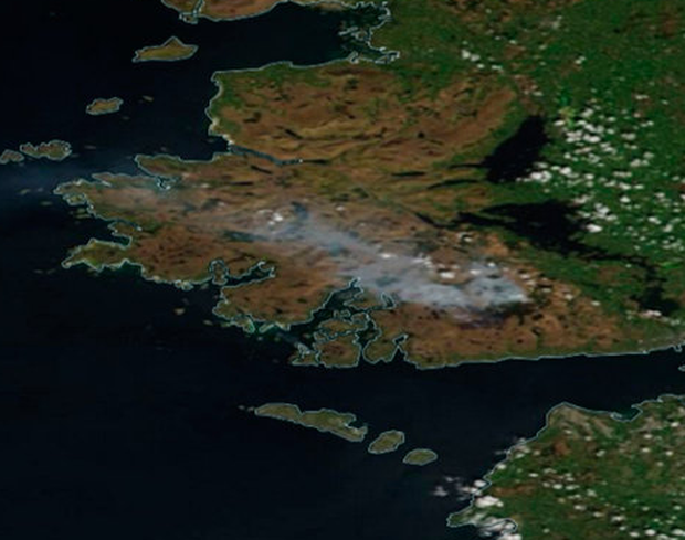 Nasa satellite picture shows smoke from a huge gorse fire in Co Galway last week