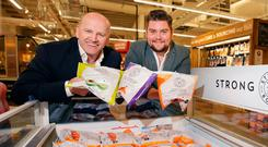 Sean Gallagher with Samuel Dennigan of innovative frozen food startup Strong Roots. Photo: Gerry Mooney