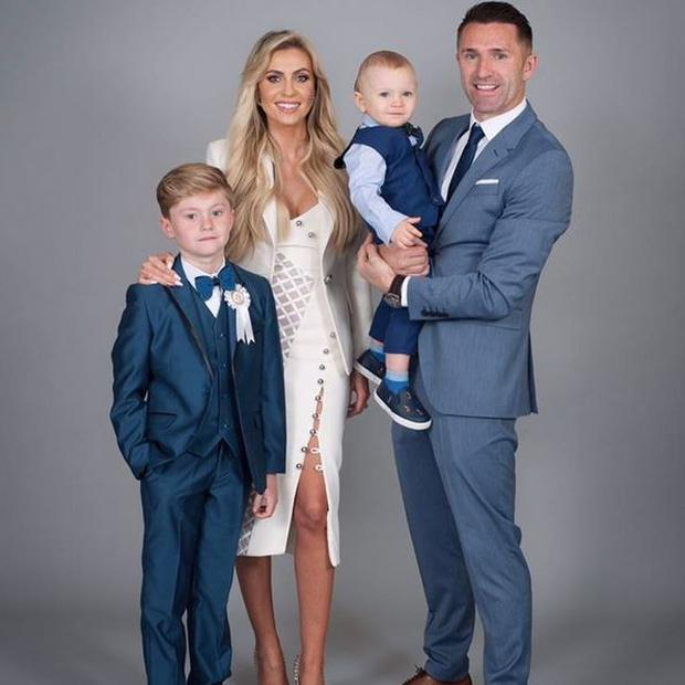 Robbie Keane with wife Claudine, sons Robert and Hudson on Robert's First Holy Communion. PIC: Robbie Keane Instagram