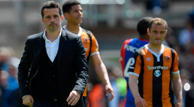 Hull City manager Marco Silva looks dejected after his side were relegated today