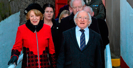 President Michael D Higgins and his wife Sabina arrive at Richmond Park for a St Patrick's Athletic match Photo: David Maher / SPORTSFILE