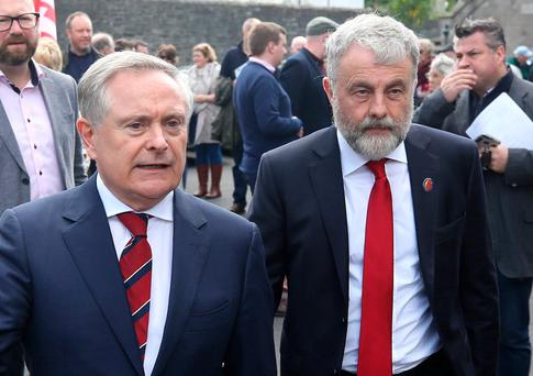 Brendan Howlin, leader of the Labour Party and Jack O'Connor, General Secretary of SIPTU, at the annual James Connolly commemoration at Arbour Hill. Photo: Damien Eagers