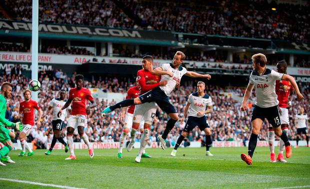 Tottenham Hotspur's Harry Kane scores his side's second goal of the game. Photo: PA