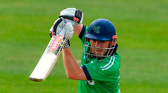 Niall O'Brien plays a shot through the covers on his way to a century in Malahide yesterday. Photo: Sportsfile