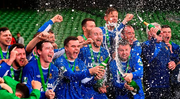 Sheriff YC celebrate after winning the FAI Junior Cup for the fourth time in six years. Photo: Sportsfile
