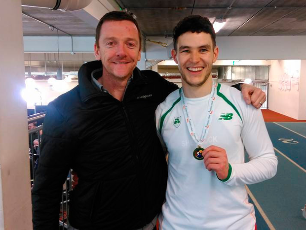 Jeremy Lyons with his athlete Craig Lynch, who won the national indoor 60m title last year