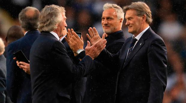 Pat Jennings, David Ginola and Glenn Hoddle stand on the pitch during the closing ceremony. Photo: Getty