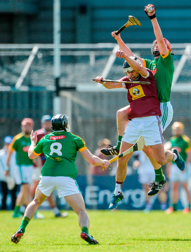 ; Steven Clynch of Meath in action against Gary Greville of Westmeath. Photo: Sportsfile