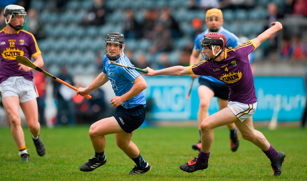 Jason Byrne of Dublin in action against Cathal O'Connor of Wexford. Photo: Brendan Moran/Sportsfile