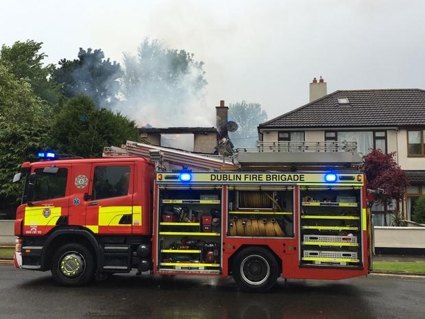 Dublin Fire Brigade bring fire under control in Firhouse, Dublin (Photo: Conor Feehan)
