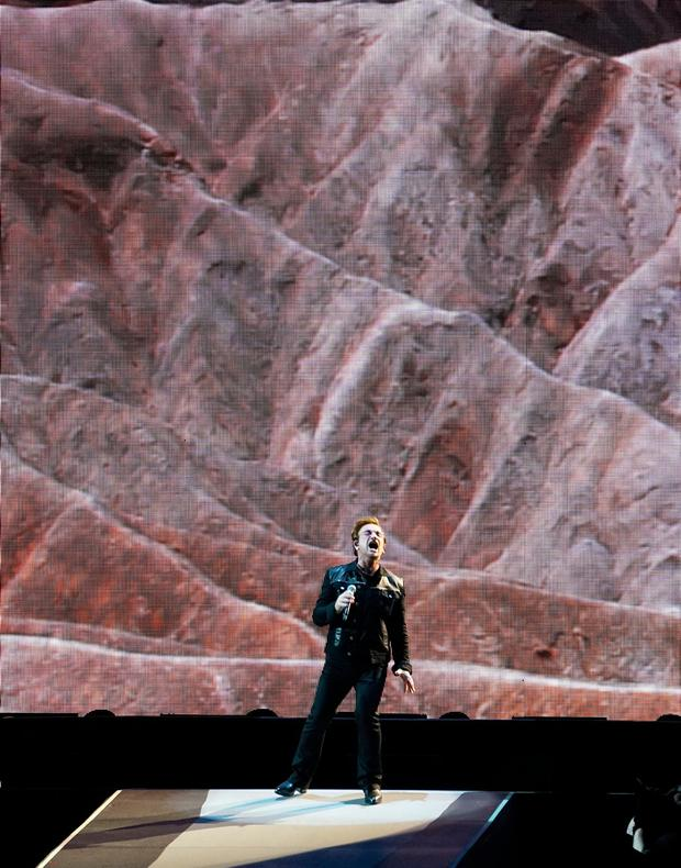 Bono sings during the opening concert of rock group U2's global The Joshua Tree Tour 2017 in Vancouver, British Columbia, Canada May 12, 2017. Picture taken May 12, 2017. REUTERS/Nick Didlick