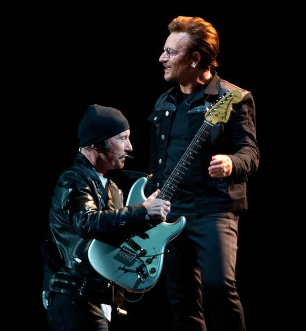 The Edge and Bono, members of U2 kick off their world tour of the Joshua Tree in Vancouver, B.C., Friday, May 12, 2017. (Jonathan Hayward/The Canadian Press via AP)
