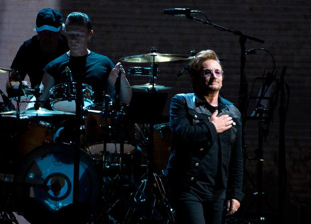 Irish rockers U2 perform during their world tour celebrating the 30-year anniversary of their