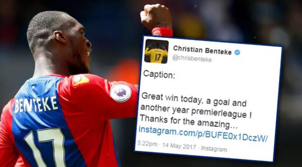 Caption: Christian Benteke's social media people got confused - again CREDIT: PAUL HARDING/PA WIRE
