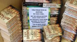 The sign in the Oxfam shop in Swansea. PIC: Wales News Service