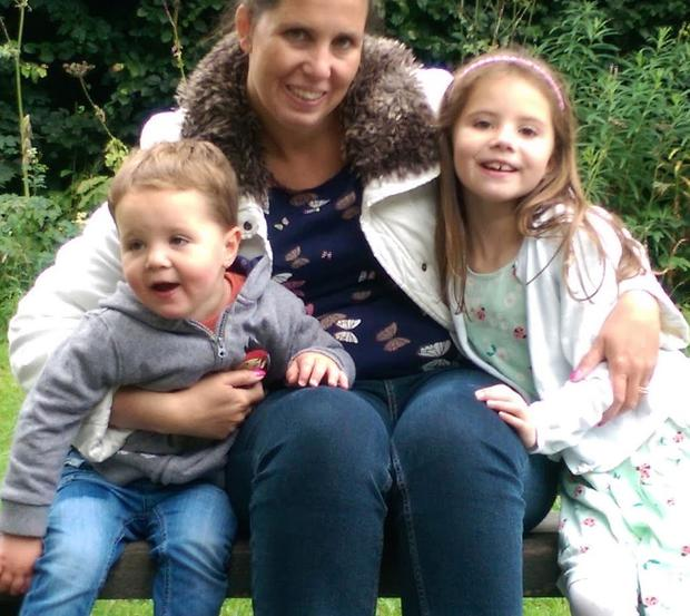Lisa Dalton pictured with her children Sophie and Adam