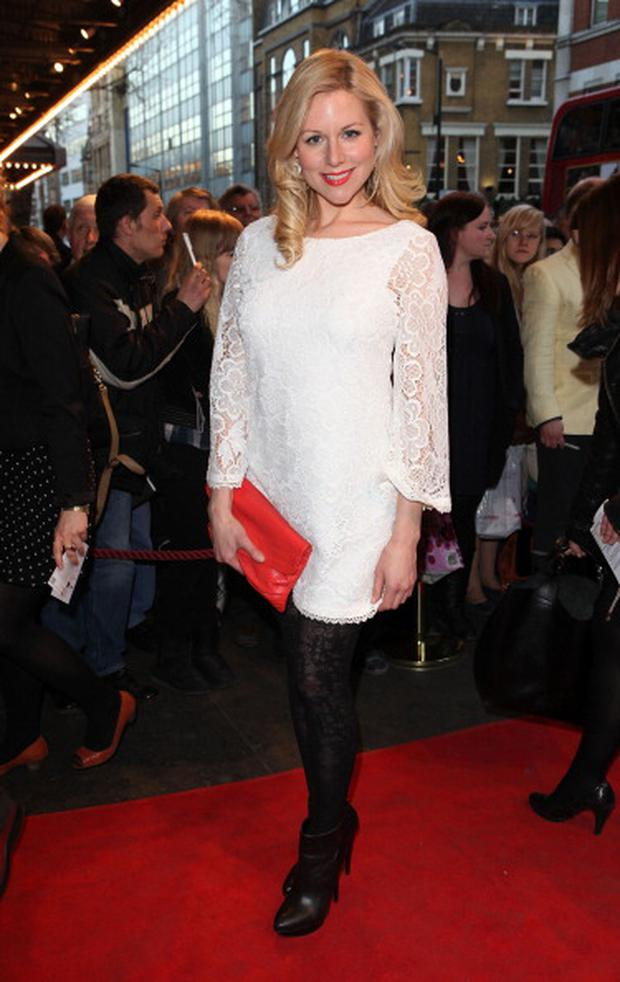 Abi Titmuss attends the press night of The King's Speech at Wyndhams Theatre on March 27, 2012 in London, England. (Photo by Tim Whitby/Getty Images)