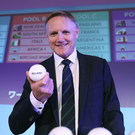 10 May 2017; Joe Schmidt, Head coach of Ireland, poses after the Rugby World Cup 2019 Pool Draw at the Kyoto State Guest House on May 10, 2017 in Kyoto, Japan. Photo by Dave Rogers - World Rugby/World Rugby via Sportsfile