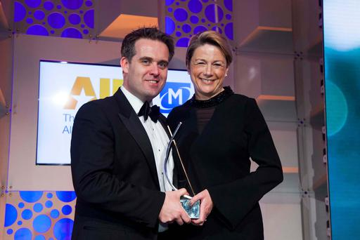 Geoff Lyons, Independent News & Media (sponsor of the 2017 All Ireland Marketing Champion Award), with award recipient, Fiona Dawson, Mars Global Food