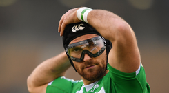 3 December 2016; Ian McKinley of Treviso puts on his protective goggles during the Guinness PRO12 Round 10 match between Connacht and Benetton Treviso at The Sportsground in Galway. Photo by Ramsey Cardy/Sportsfile