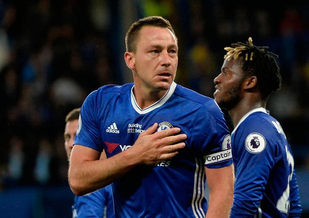 Chelsea's John Terry is emotional as he celebrates scoring their first goal