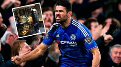 Diego Costa popped into the press buffet for a cake at half time during Chelsea's win over Watford
