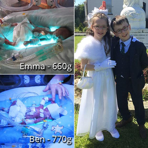 Ben and Emma Kavanagh were born at 23 weeks six days, weighing 770g and 660g respectively.