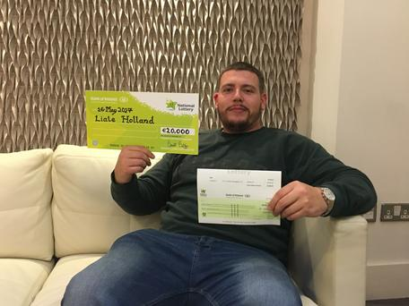 Kerry man, Liale Holland celebrates his €20,000 All Cash Extravaganza scratch card win at National Lottery offices in Dublin