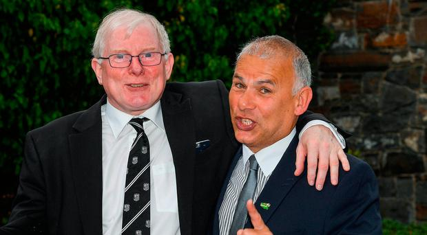 Honoured: Ollie Cambell and Tony Ward. Photo: Sportsfile