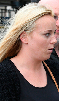 Lyndsey Morgan leaves court. Photo: Collins Courts