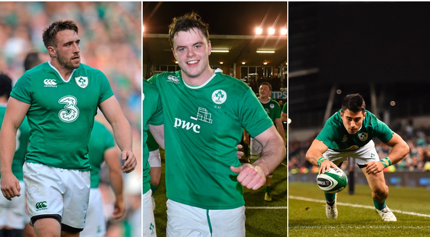 Jack Conan (left), James Ryan (centre) and Tiernan O'Halloran (right).
