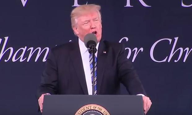 President Trump giving a speech at Liberty University