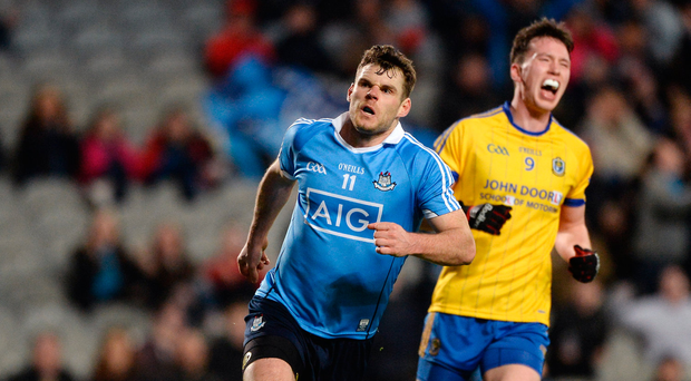 25 March 2017; Kevin McManamon of Dublin celebrates after scoring his side's second goal during the Allianz Football League Division 1 Round 6 game between Dublin and Roscommon at Croke Park in Dublin. Photo by Daire Brennan/Sportsfile