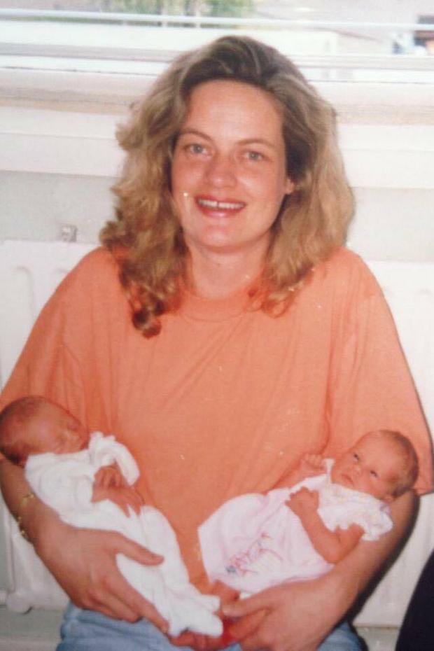 Ruth Finlay with her twin Emma and her mum Finola in 1990.