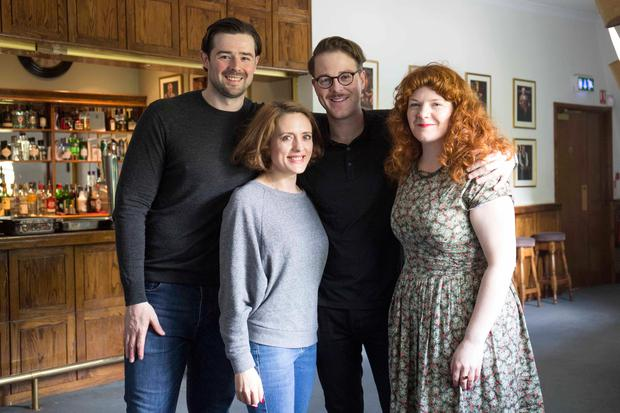 Ger Kelly (actor), Rebecca O'Mara (actress), Shane O'Reilly (actor) and Jen Coppinger (producer) pictured today at the launch of Selina Cartmell inaugural season at the Gate Theatre .Picture: Clare Keogh