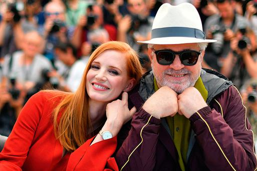 US actress and member of the feature film jury Jessica Chastain and Spanish director and president of the feature film jury Pedro Almodovar pose for photographers ahead of the opening ceremony of the 70th Cannes Film Festival in France. Photo: Loic Venance/AFP