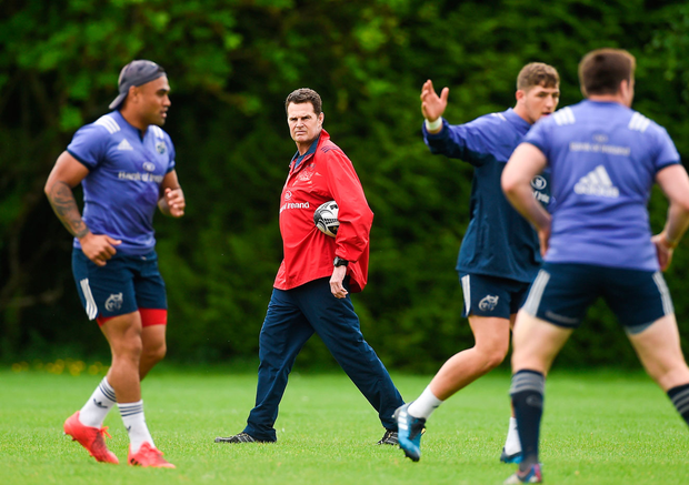 Munster director of rugby Rassie Erasmus during squad training at the University of Limerick in Limerick. Photo: Diarmuid Greene/Sportsfile